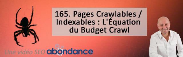 Pages Crawlables / Indexables : L'Équation du Budget Crawl – Vidéo SEO Abondance N°165