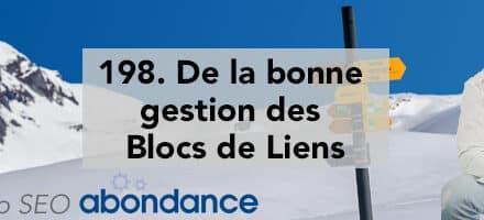 De la bonne gestion des blocs de liens –  Vidéo SEO Abondance N°198