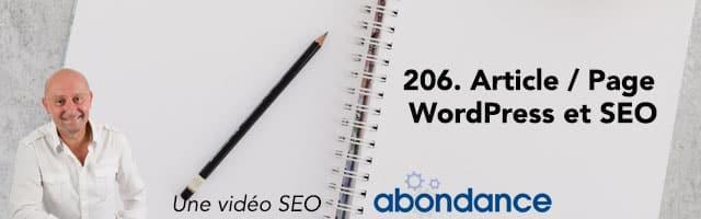 La notion d'article et de page dans WordPress et le SEO –  Vidéo SEO Abondance N°206
